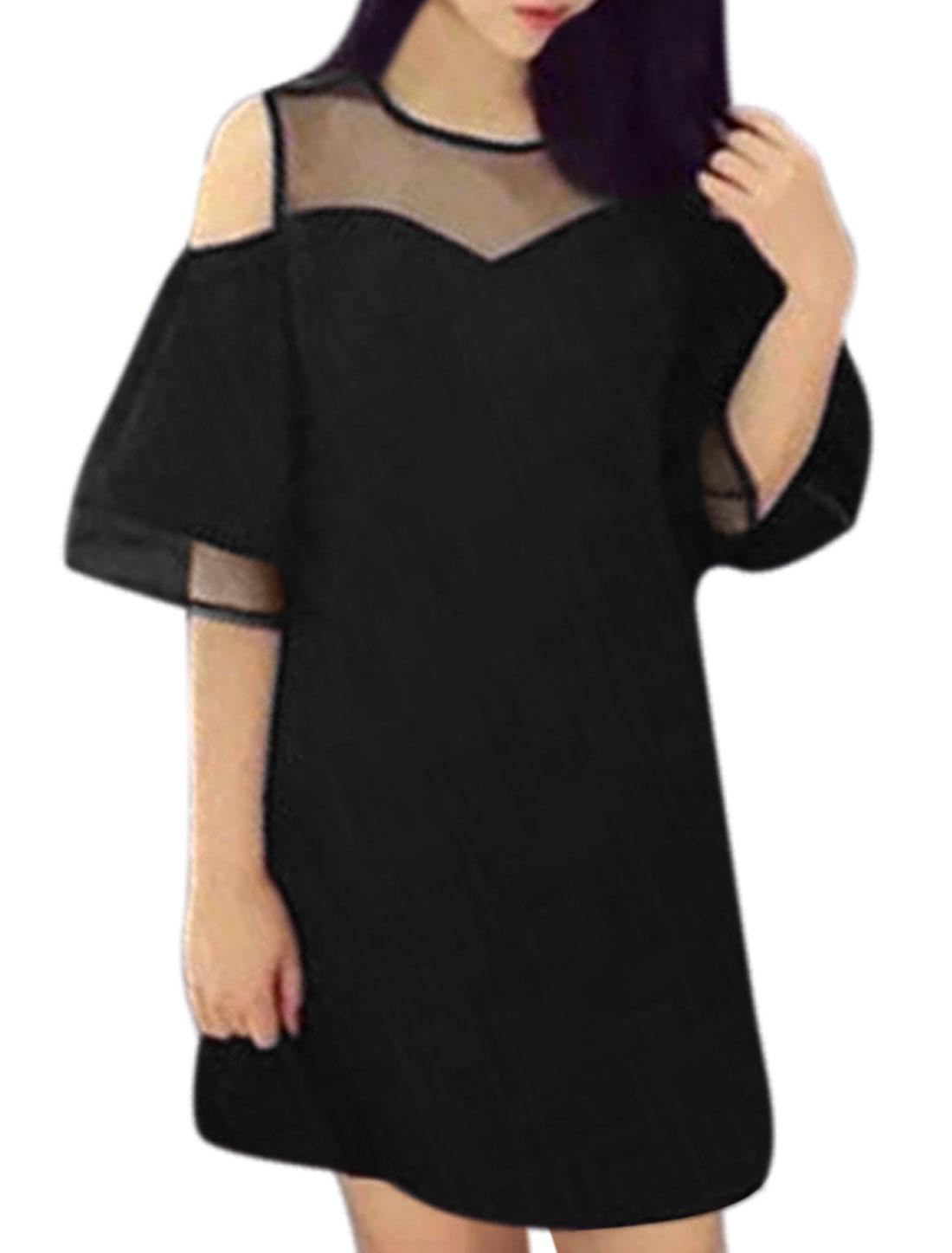 Women Cut Out Shoulder Organza Panel Tunic Dress Black XS