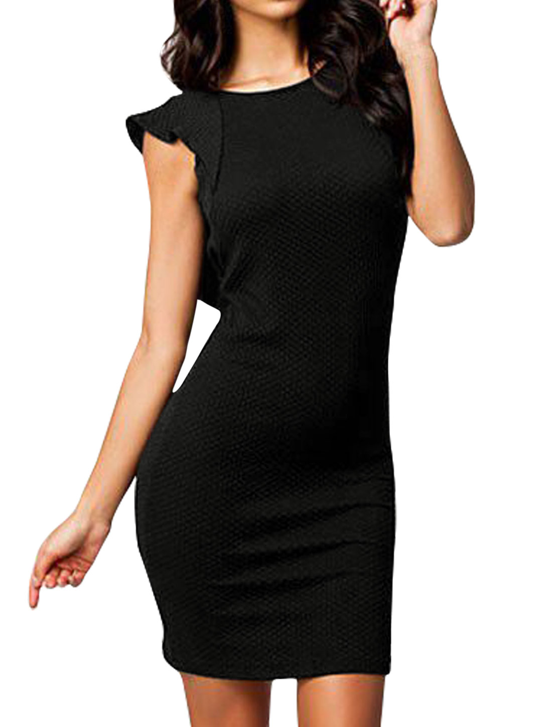 Women Sleeveless Open Back Ruffles Decor Bodycon Dress Black L