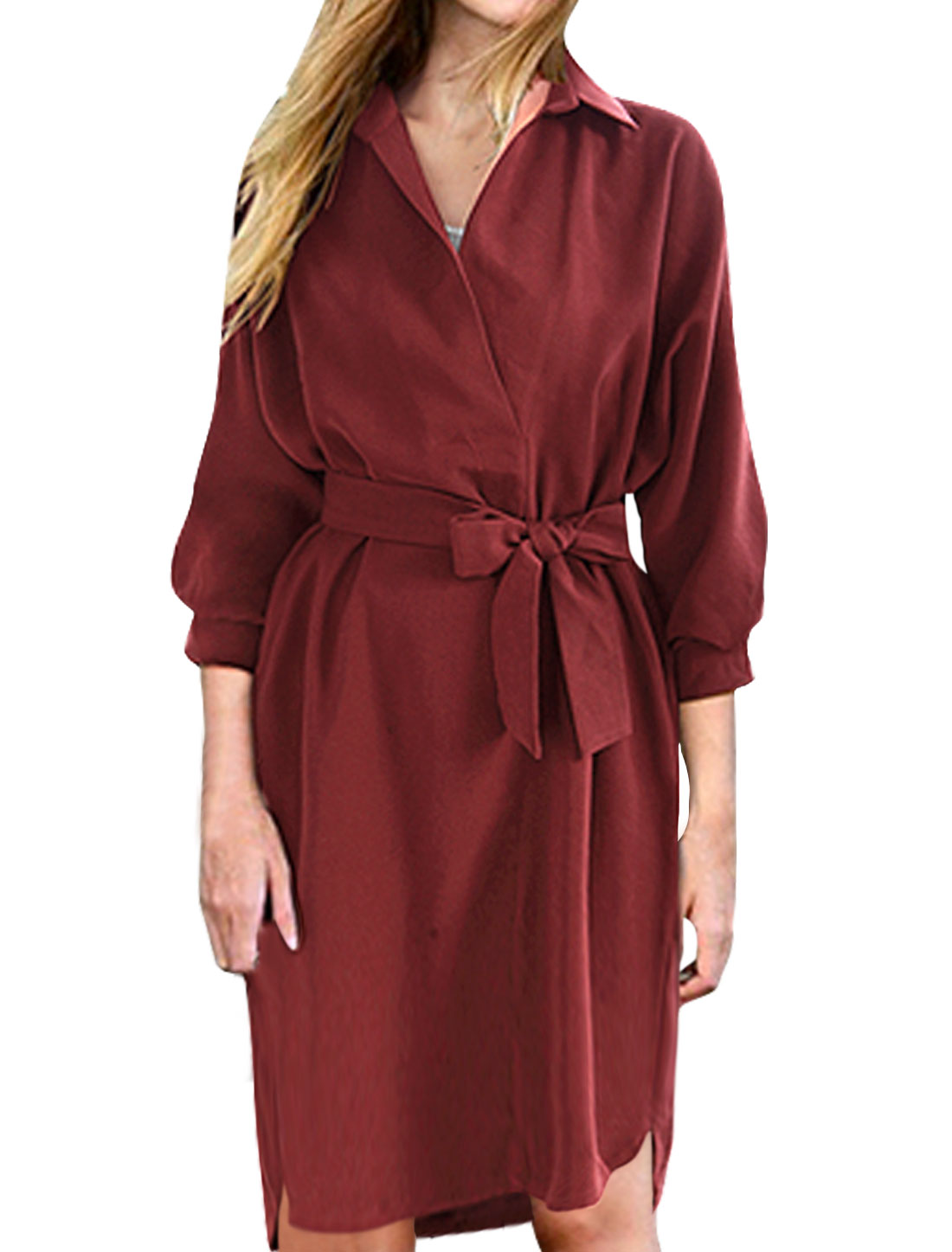 Women Collared Wrap Design Waist String Loose Tunic Dress Red S