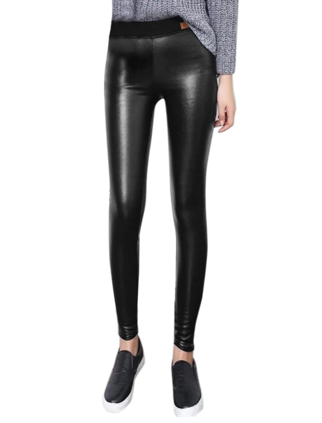 Women Elastic Waist Footless Shiny Skinny PU Leggings Black XS