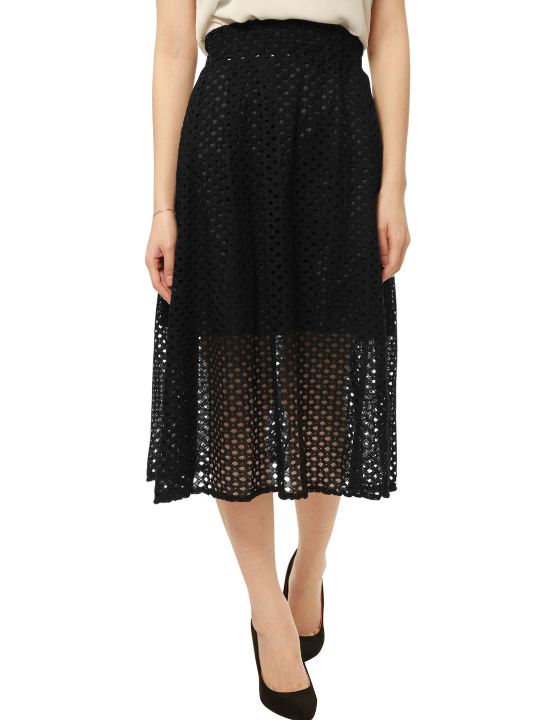 Women Elastic Waist Band Semi Sheer Hem Lace Midi Skirt Black XS