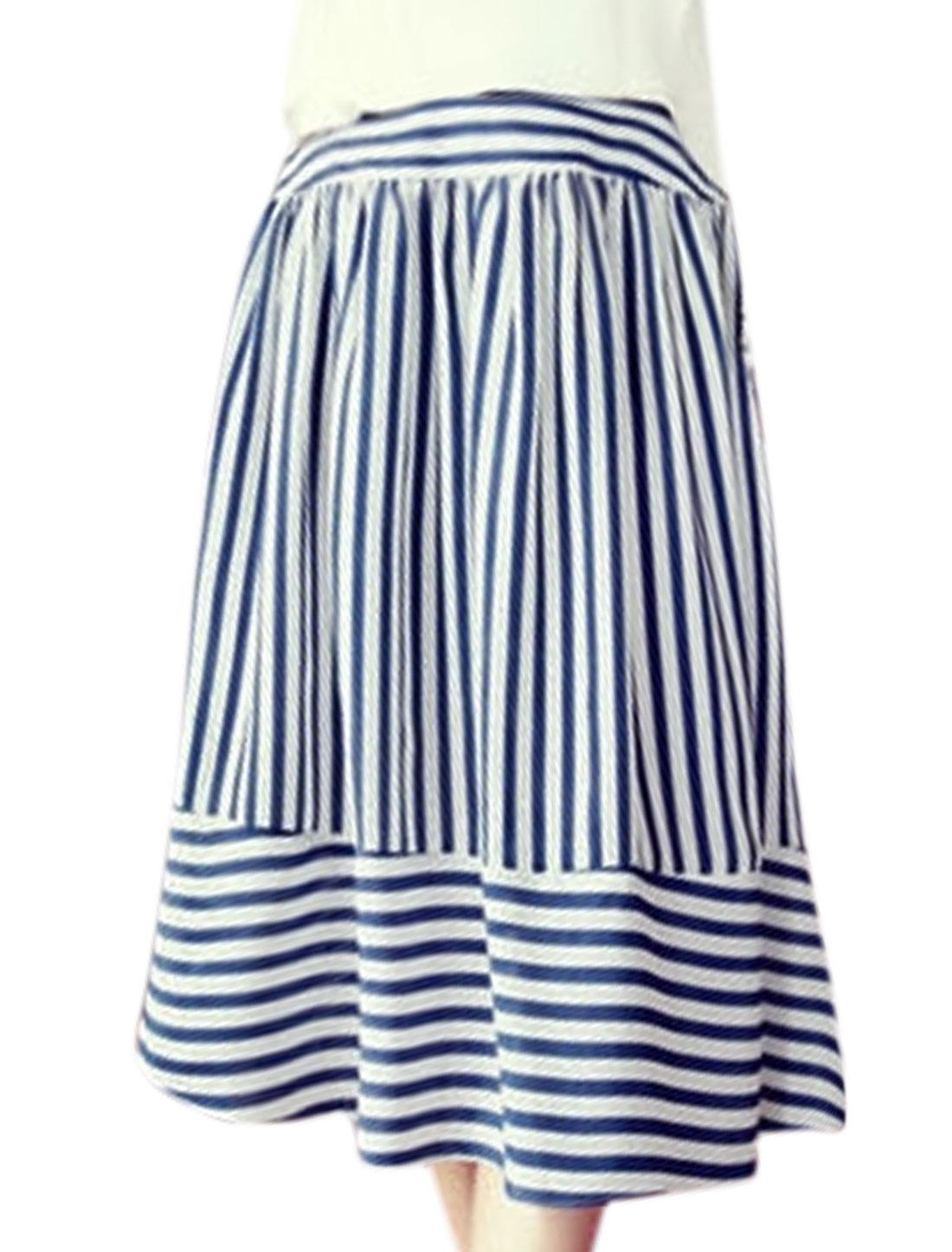 Women Elastic High Waist Stripes Midi A Line Skirt Blue XS