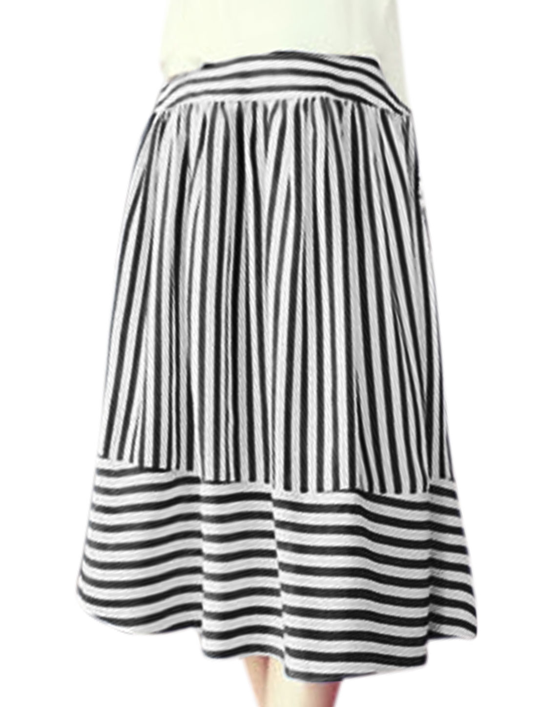 Women Elastic High Waist Stripes Midi A Line Skirt Black XS