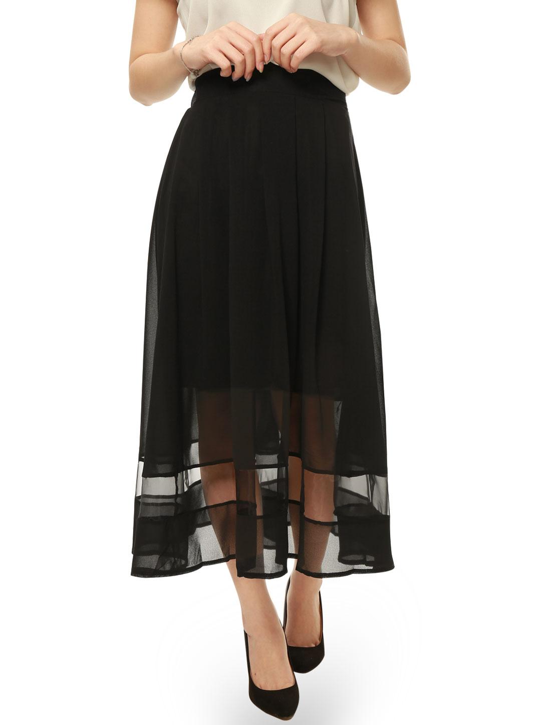Women Elastic Waist Organza Panel Chiffon Pleated Skirt Black XS