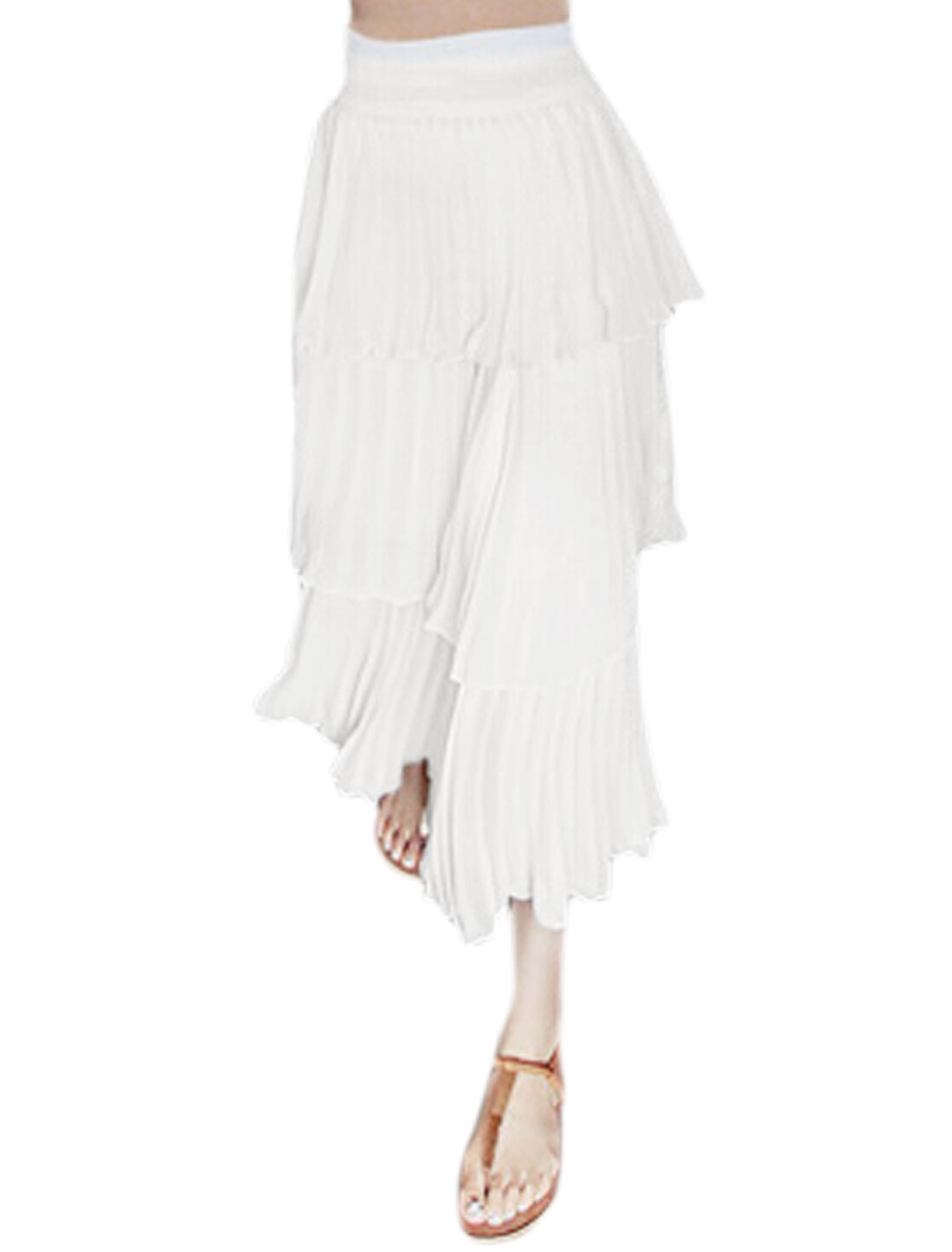 Women Elastic Waist Mid-Calf Pleated Tiered Skirt White XS