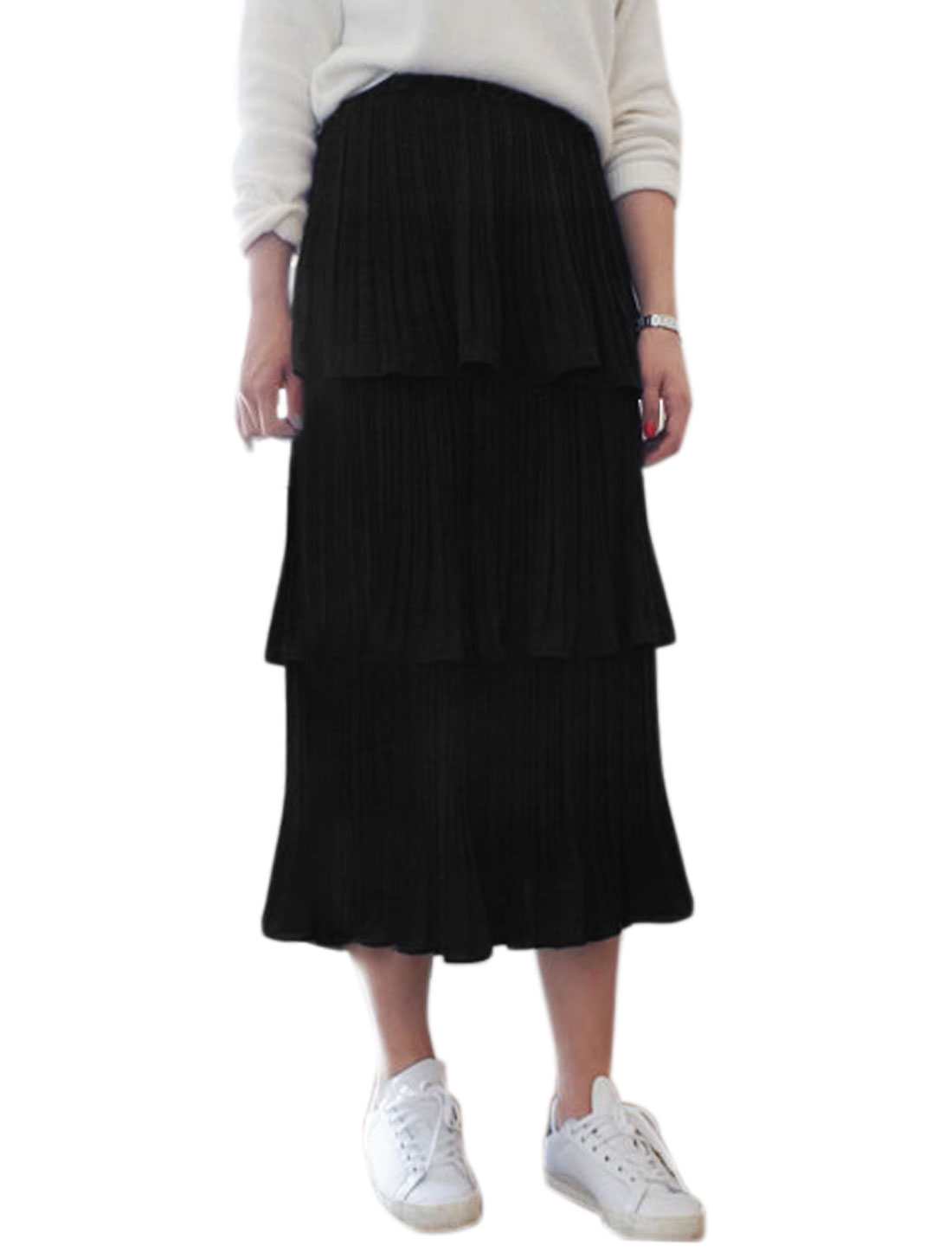 Women Elastic Waist Mid-Calf Pleated Tiered Skirt Black XS