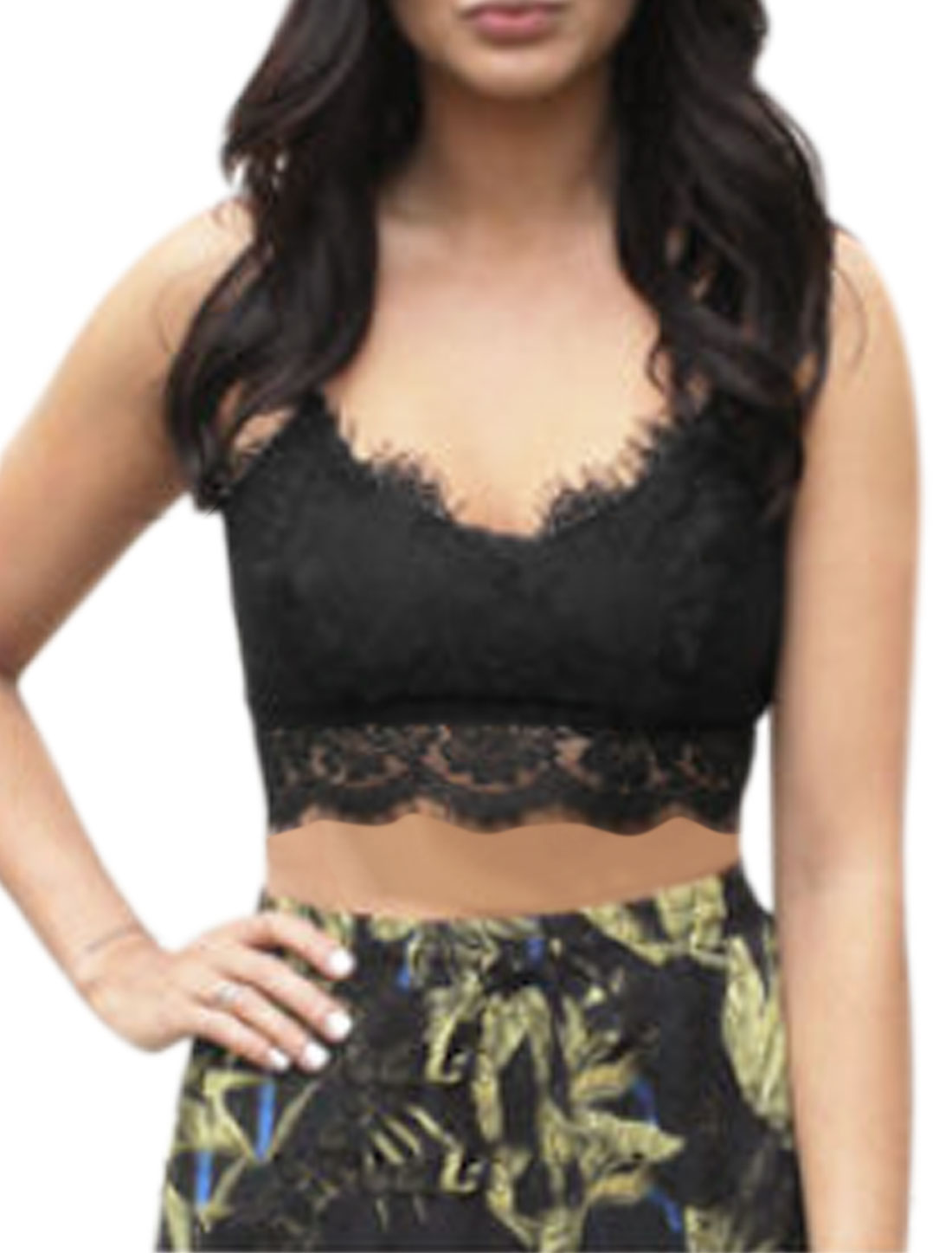 Women Deep V Neck Floral Lace Cropped Cami Top Black L