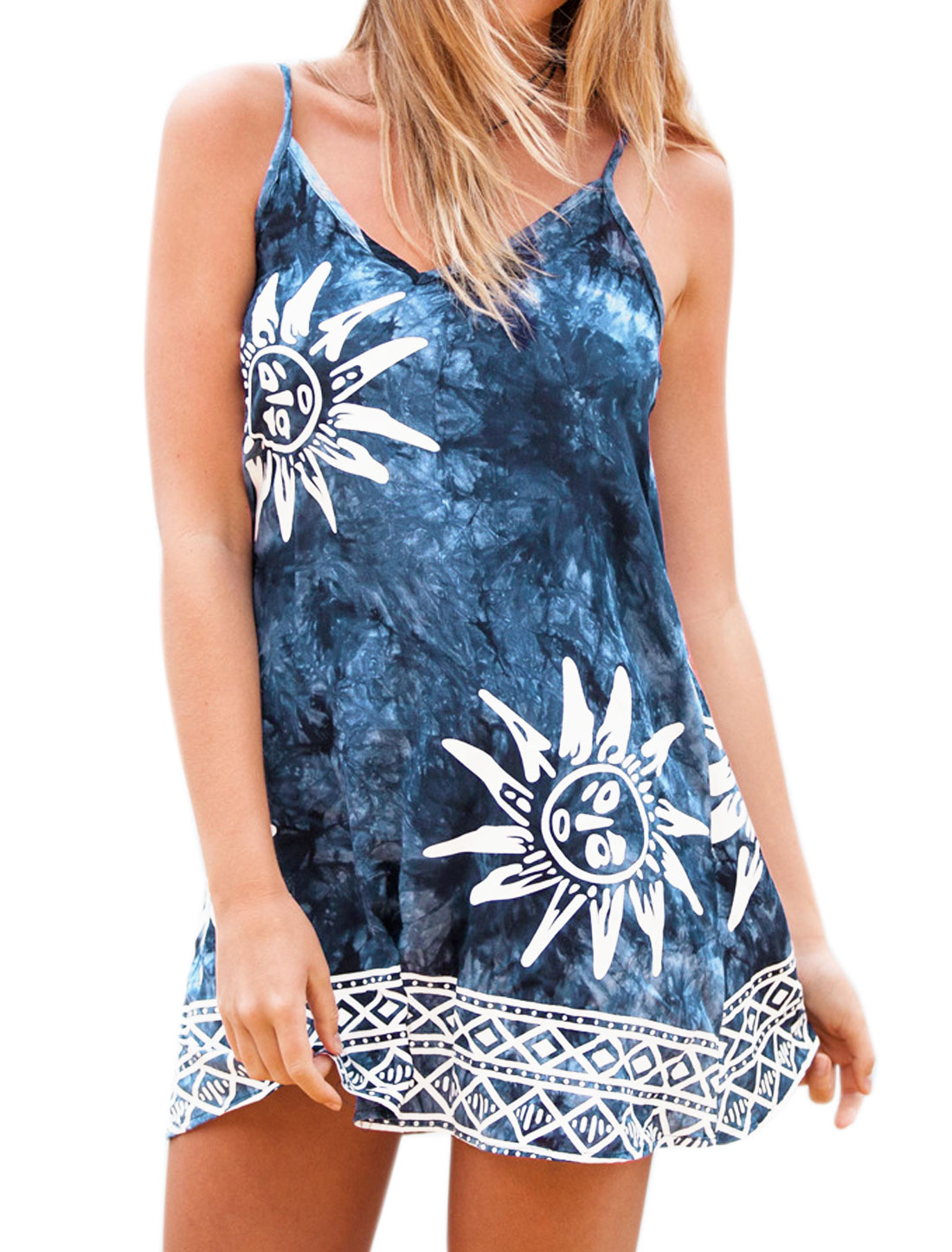 Women Spaghetti Strap Geometric Sun Pattern Cami Dress Blue L
