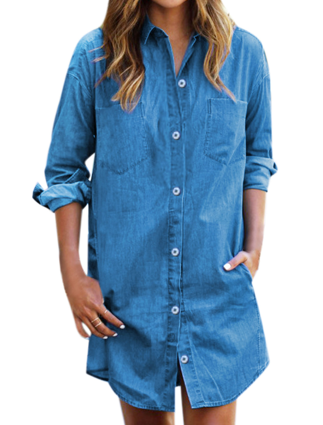 Women Long Sleeves Two Bust Pockets Denim Tunic Shirt Blue S