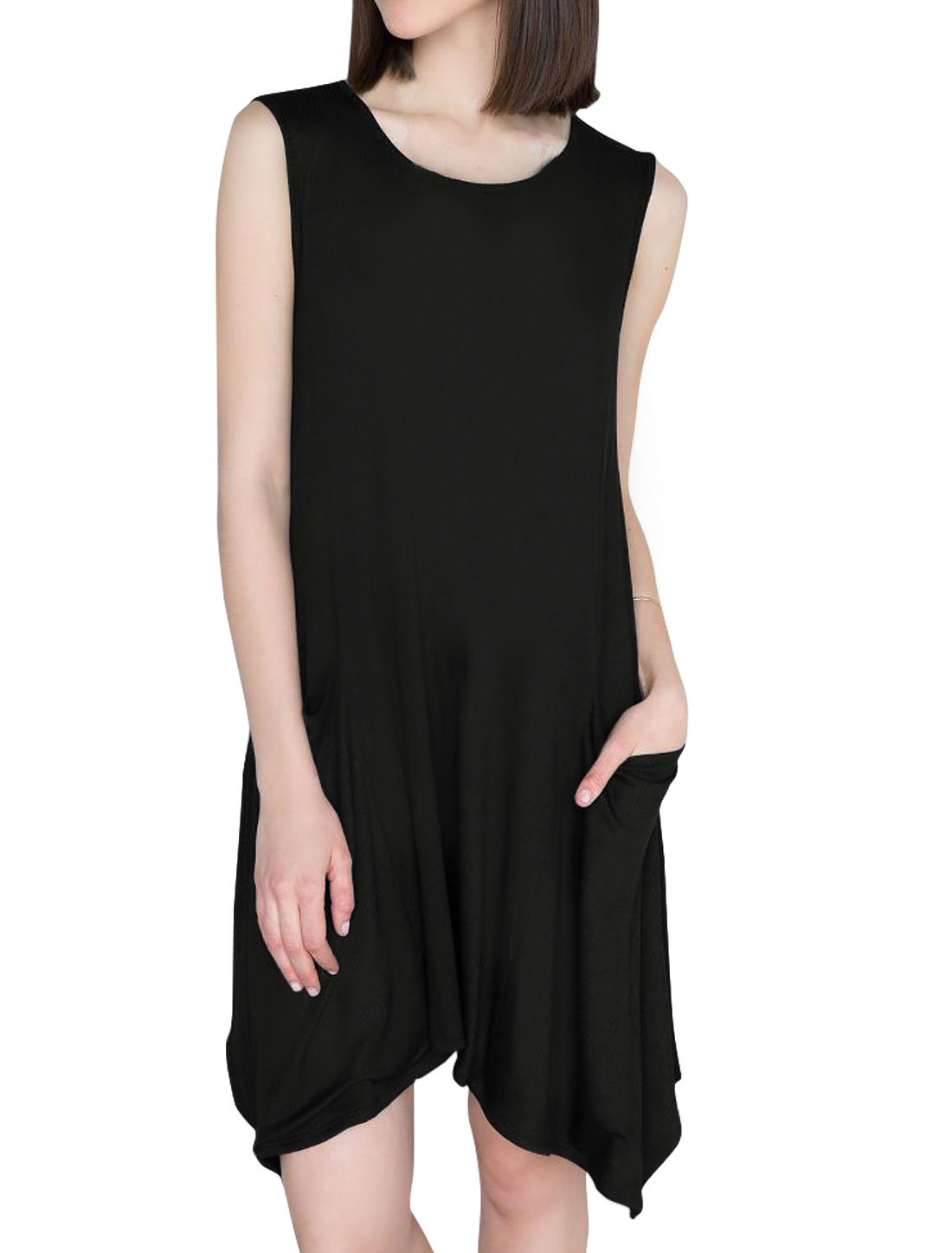 Women Sleeveless Patch Pockets Irregular Hem Tunic Dress Black M