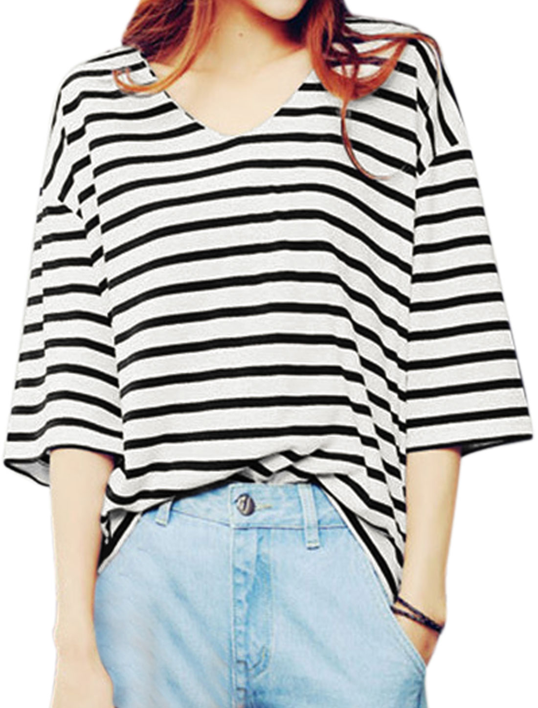 Women 3/4 Sleeves V Neck Loose Stripes Top Black XS