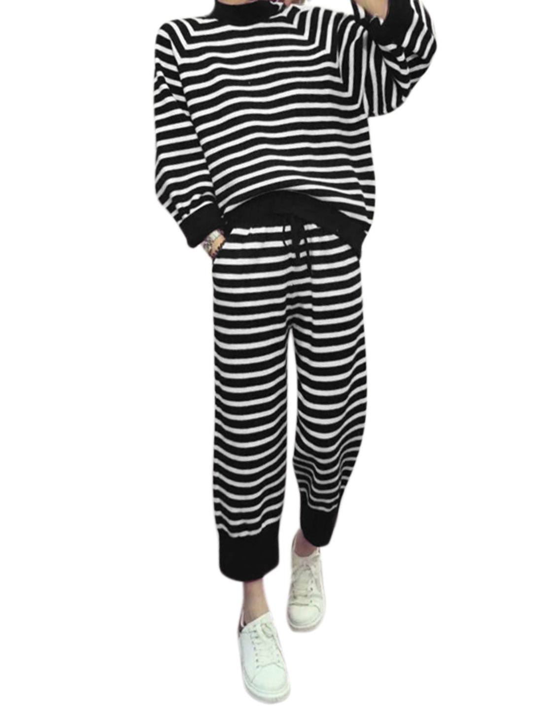 Women Zippered Sides Stripes Top w Drawstring Cropped Jogger Pants Sets Black XS