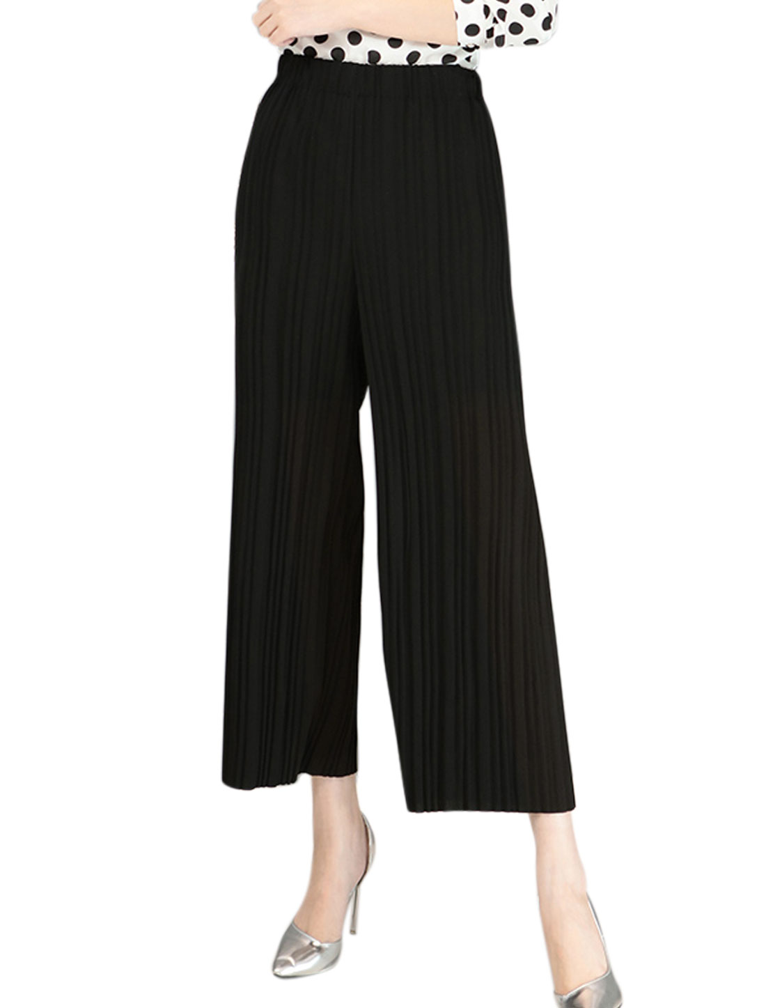 Women High Waist Semi Sheer Pleated Cropped Culottes Black XS