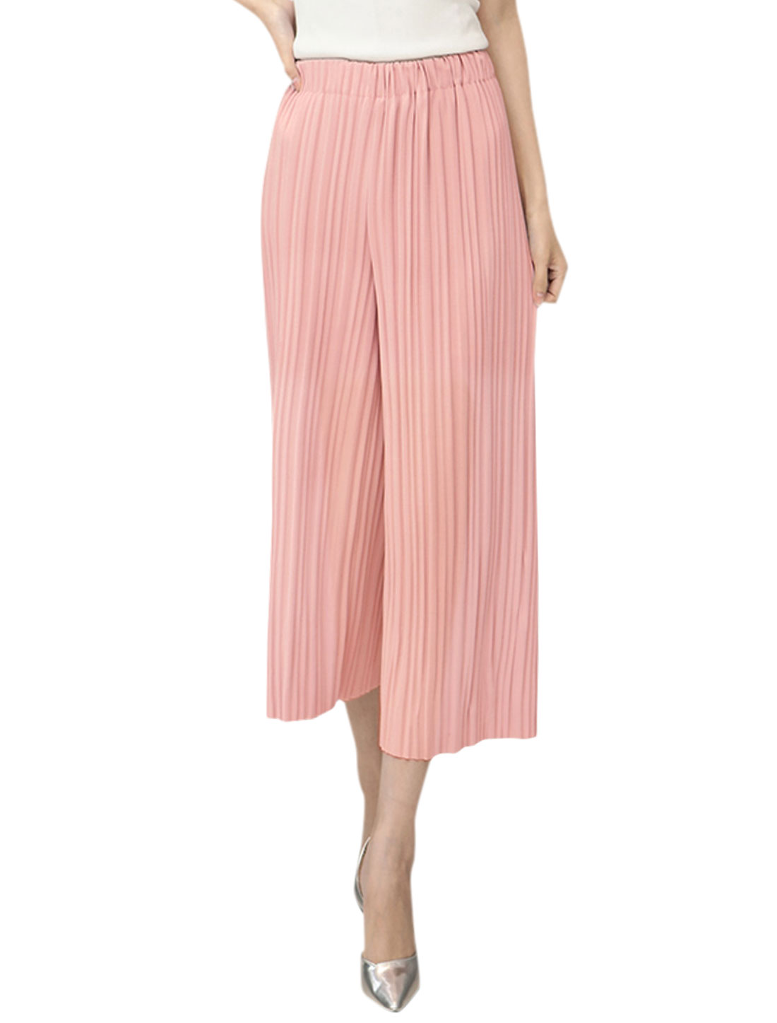 Women High Waist Semi Sheer Pleated Cropped Culottes Pink XS