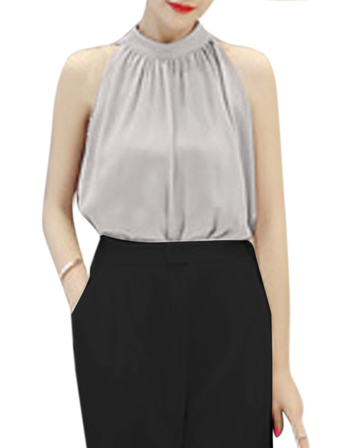 Women Stand Collar Sleeveless Chiffon Blouse Gray XS