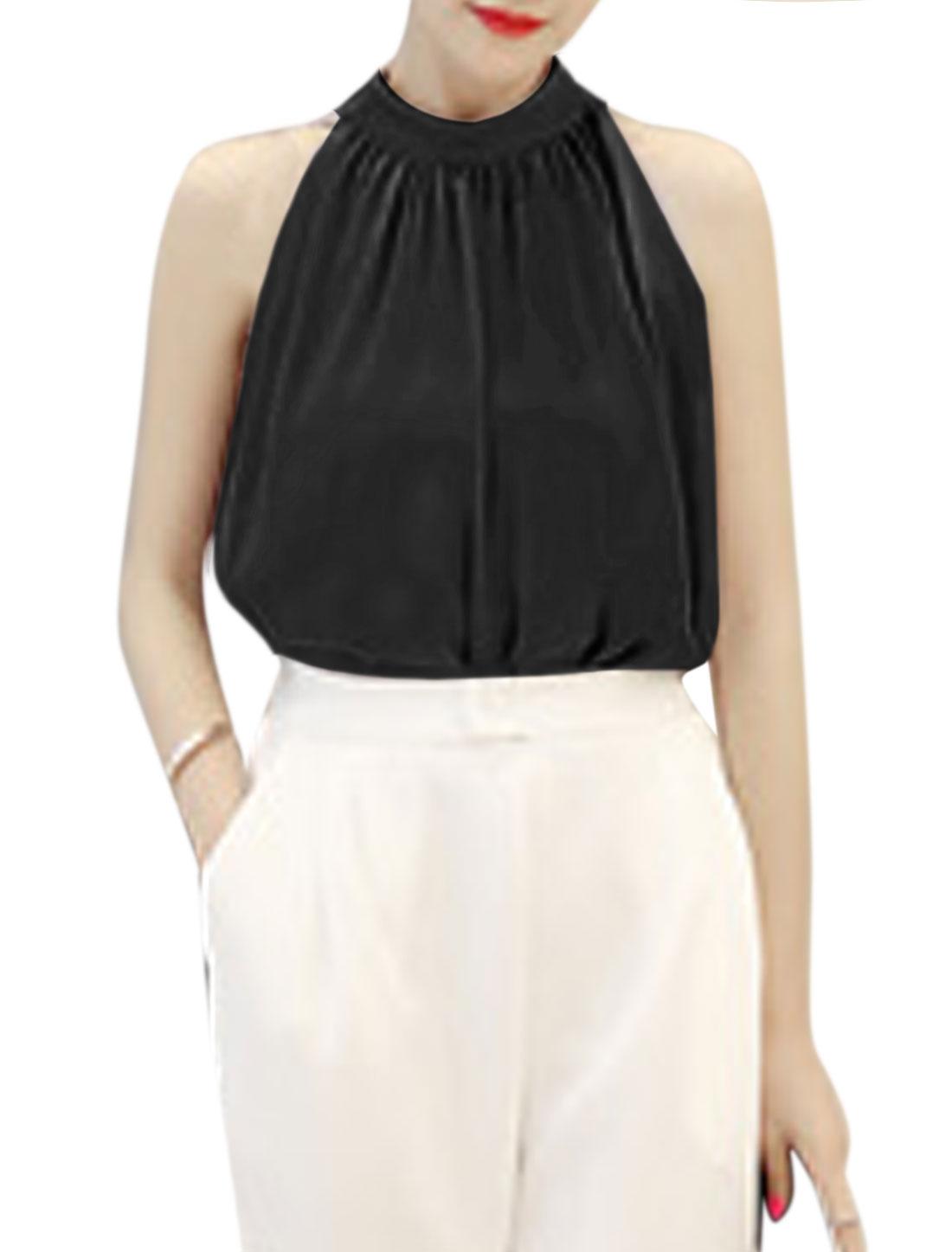 Women Stand Collar Sleeveless Chiffon Blouse Black XS