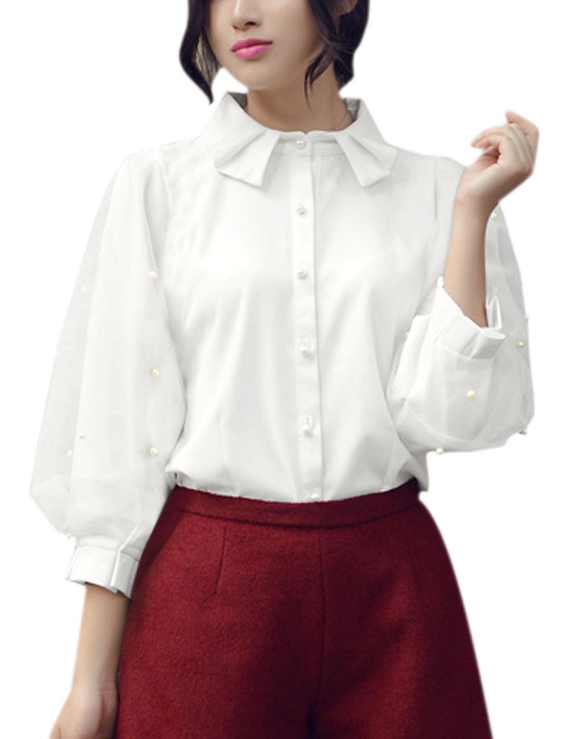 Women Organza Panel Beaded Lantern Sleeves Chiffon Blouse White XS