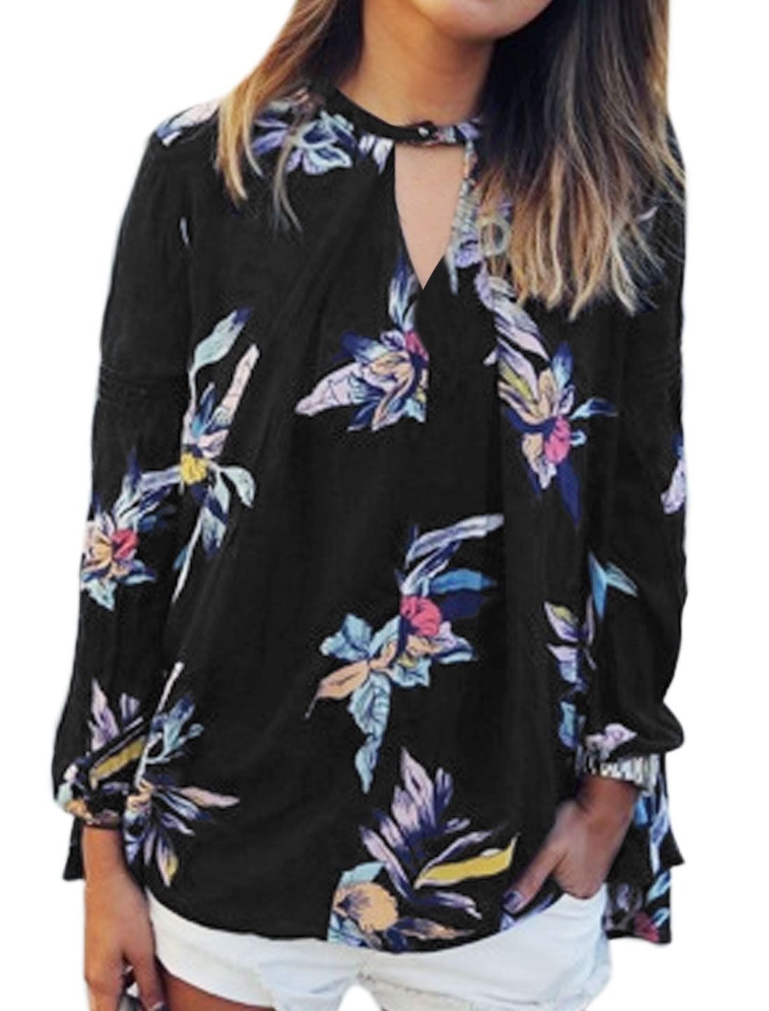 Women Loose Floral Print High Low Hem Chiffon Blouse Black XS