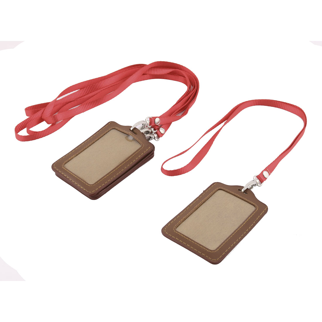 School Company Faux Leather Lanyard Strap Name Badge Credit Card Holder 5pcs