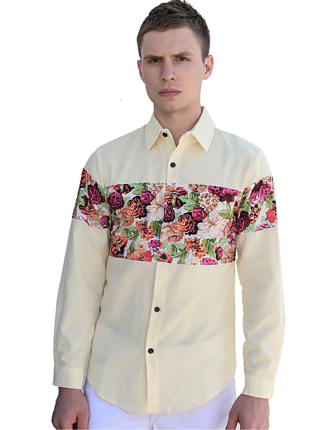 Men Long Sleeves Panel Design Floral Prints Shirt Yellow L