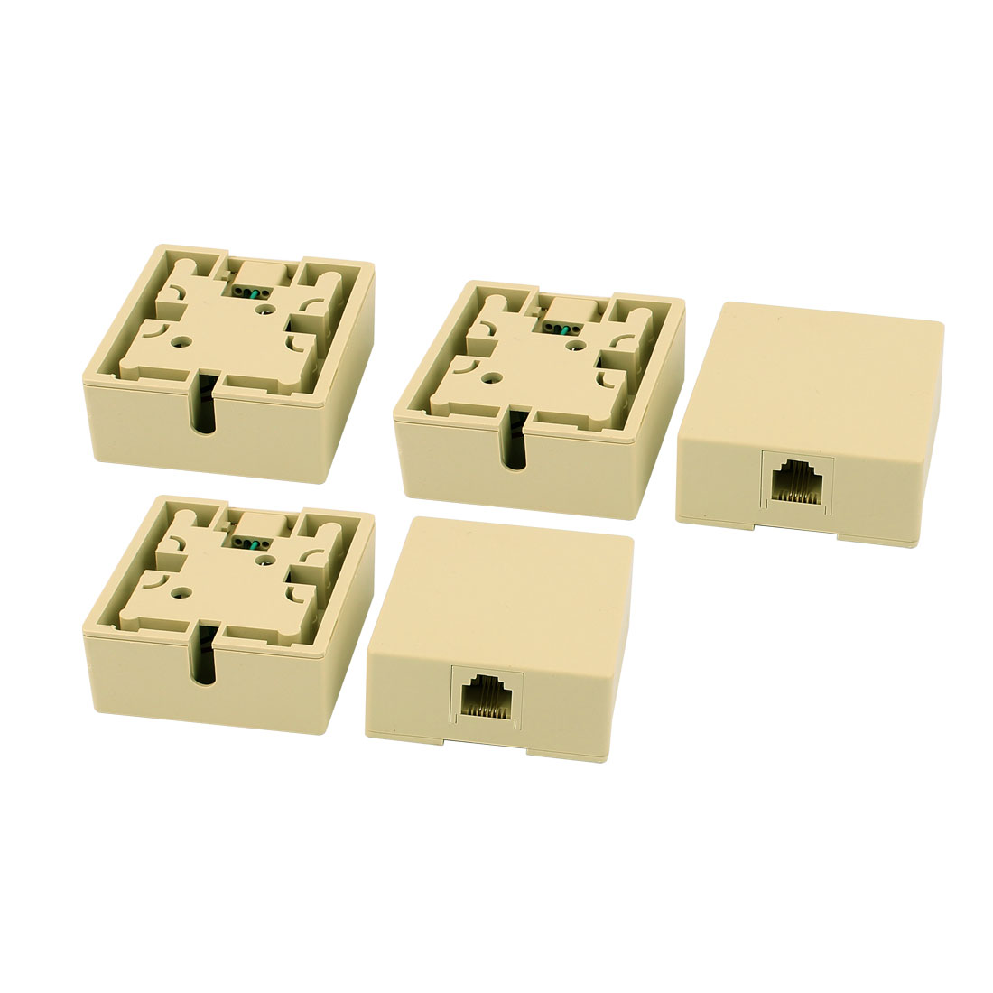 5Pcs Surface Mount RJ45 8P4C Female Phone Cable Extension Line Network Connector Adapter Jack