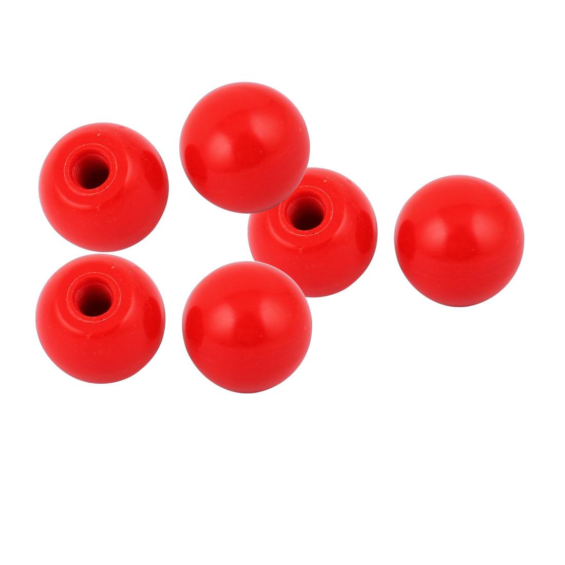 6 Pcs M10 Thread Round Plastic 35mm Diameter Ball Knob Handle Red