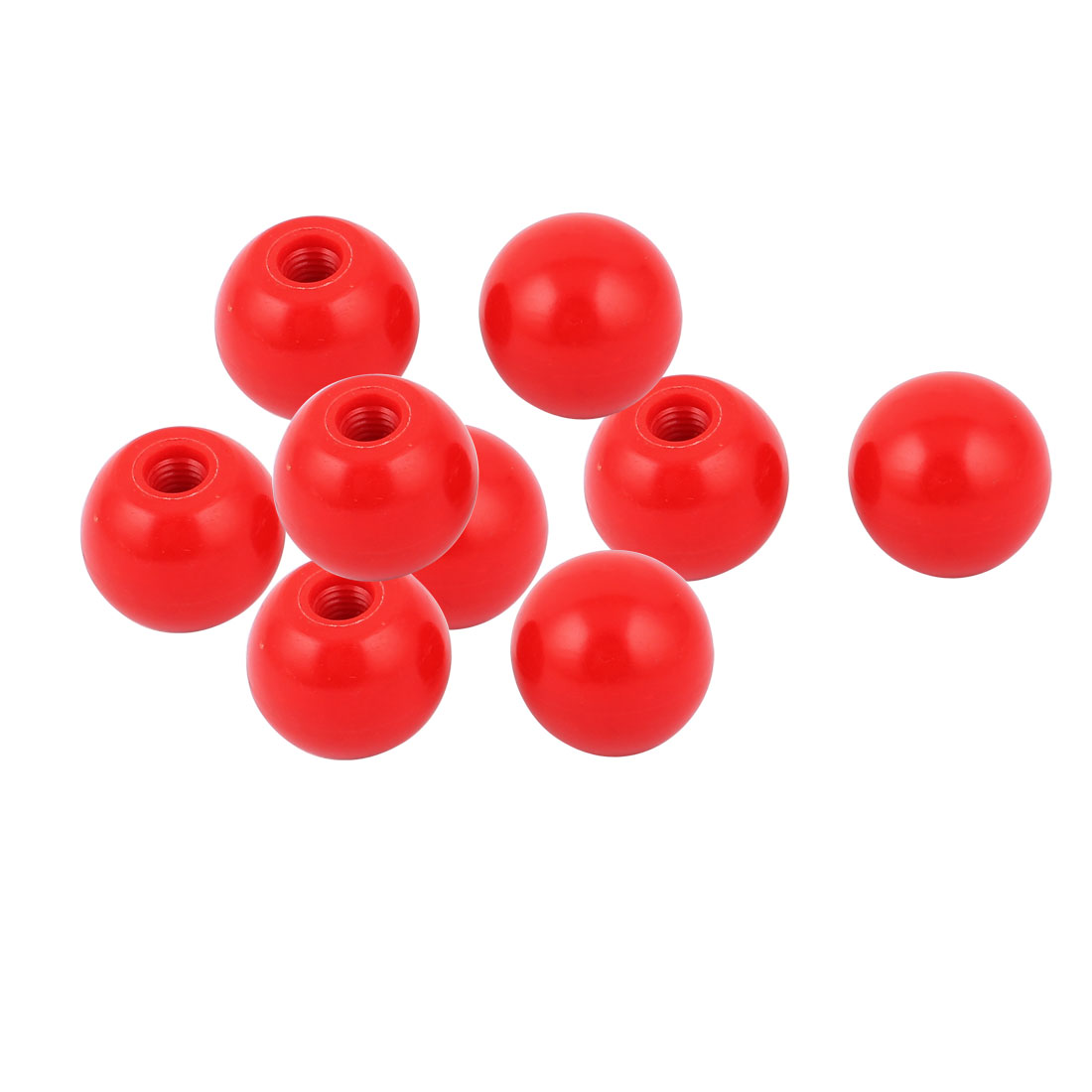 9 Pcs M10 Thread Round Plastic 35mm Diameter Ball Knob Handle Red