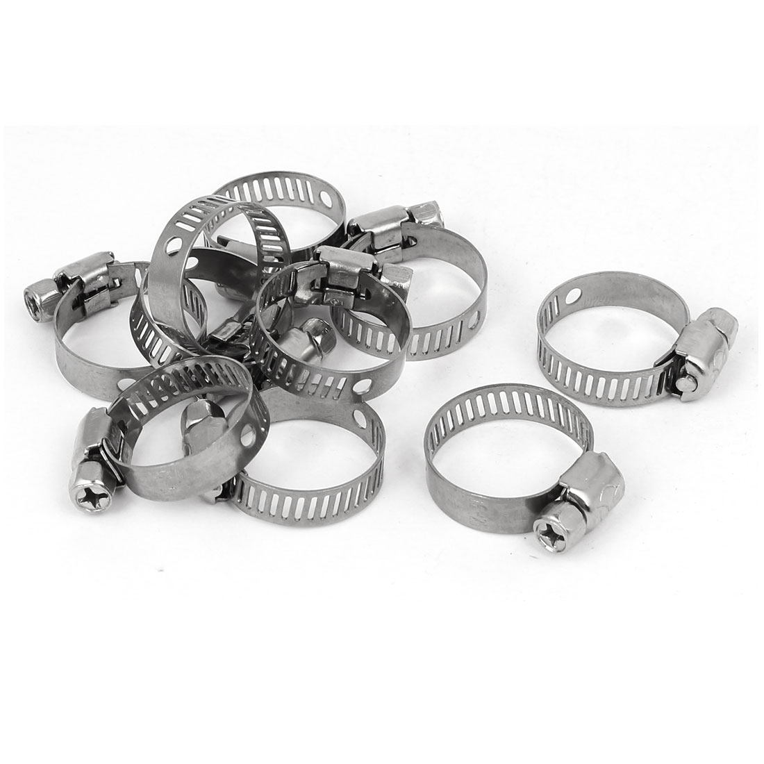 Cable Pipe Fitting Adjustable Worm Gear Hose Clamp Silver Tone 16-25mm 10pcs