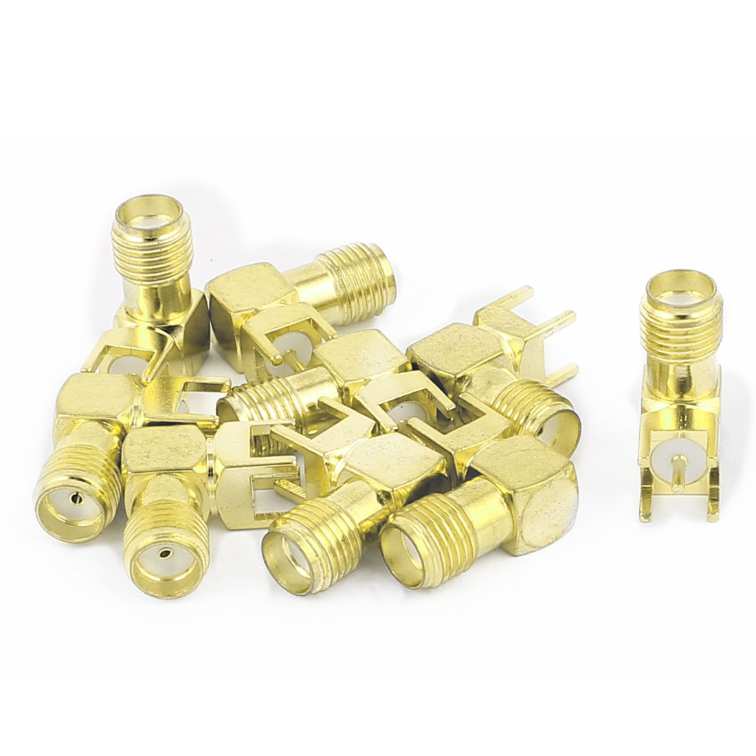 9pcs Gold Tone SMA Female to Male 90 Degree Solder PCB Mount RF Connector