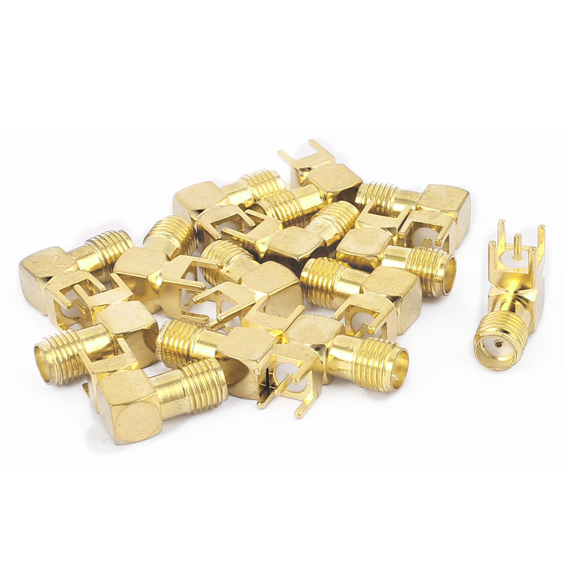 14pcs Gold Tone SMA Female to Male 90 Degree Solder PCB Mount RF Connector