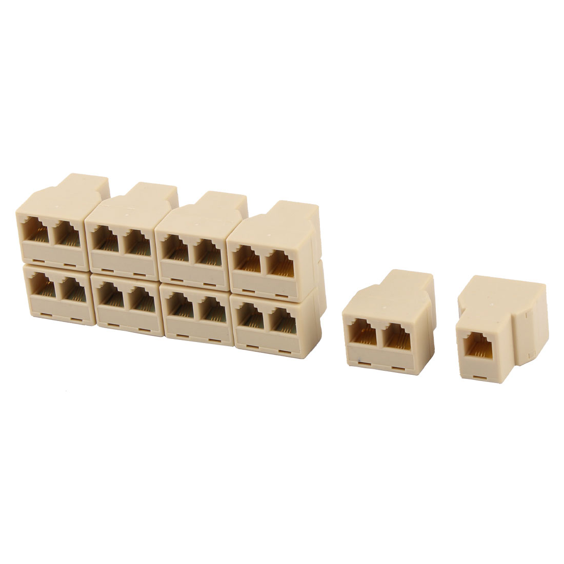 RJ11 6P4C Female to Dual Female Y Splitter Phone Jack Adapter Divider Beige 10pcs