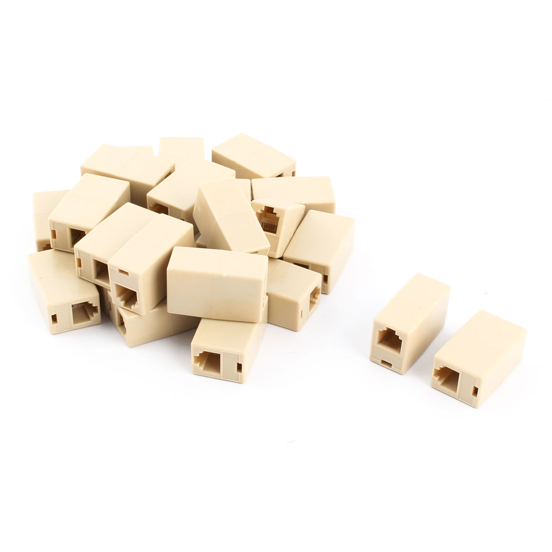 RJ45 8P4C Female to Female Coupler Telephone Cable Wire Cord Joiner Beige 25pcs