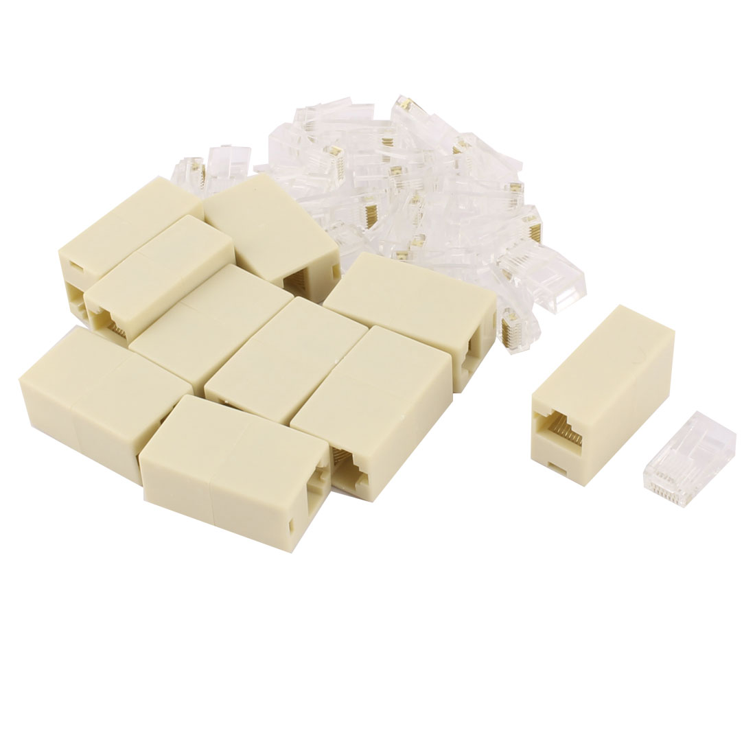 RJ45 8P8C CAT5e Male Connector Female to Female Adapter Coupler Set 30 in 1