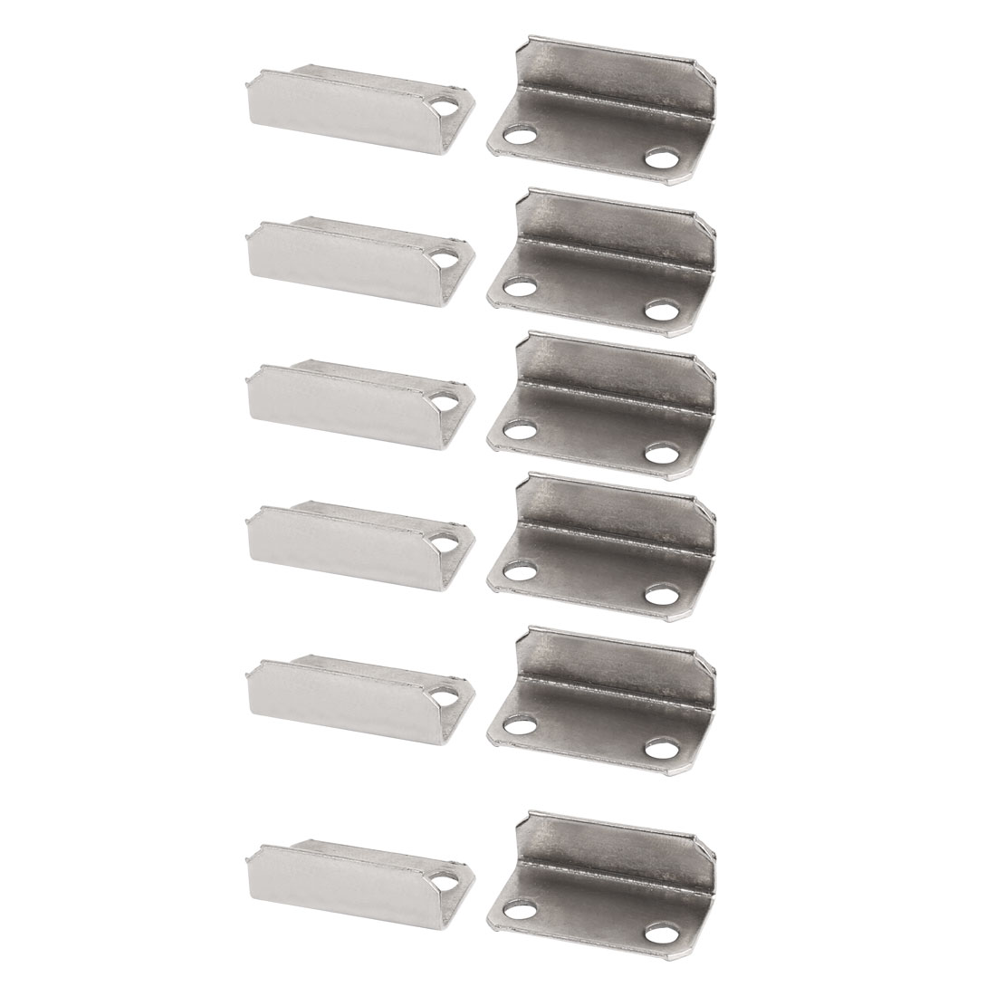 Cabinet Cupboard Drawer Lock Strike Plate Silver Tone 29mm x 16mm x 10mm 12pcs