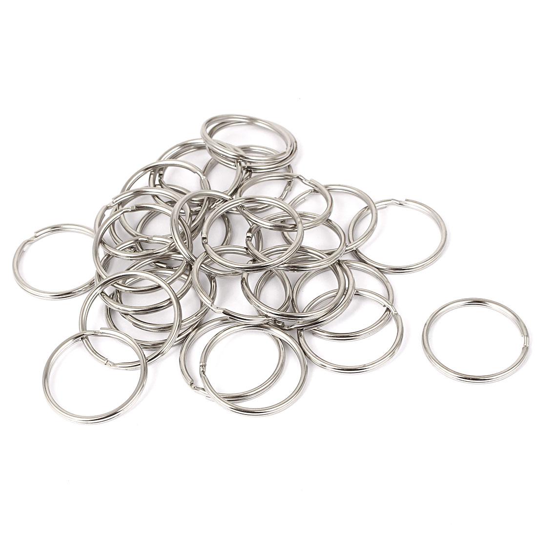 30pcs 35mm Dia Silver Tone Metal Split Ring Keychain Keyring Key Holder