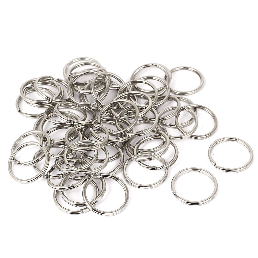 50pcs 28mm Dia Silver Tone Metal Split Ring Keychain Keyring Key Holder