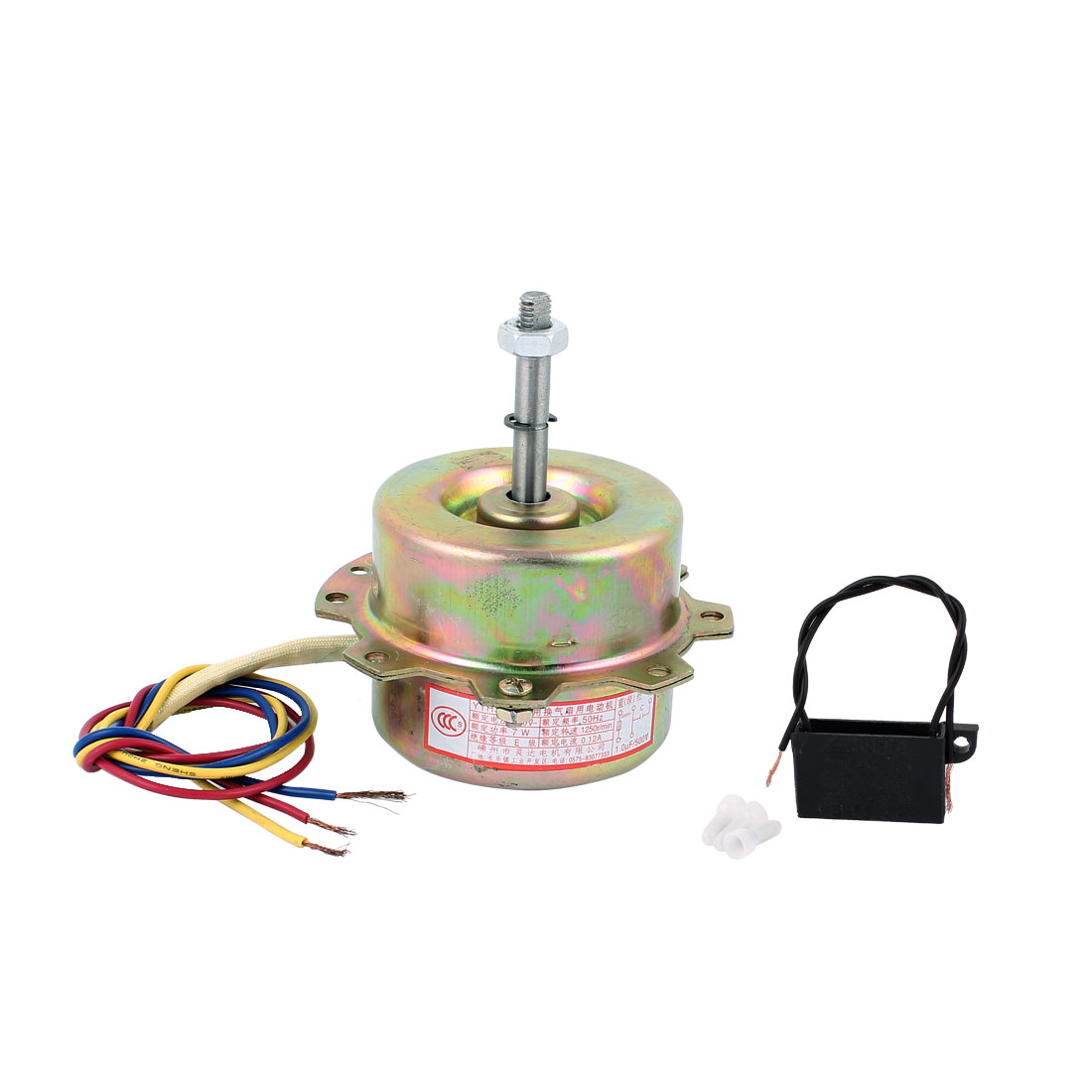 AC 220V 0.12A 7W 1250RPM 8mmx41mm Shaft Double Bearing Ball Electric Ventilator Fan Motor