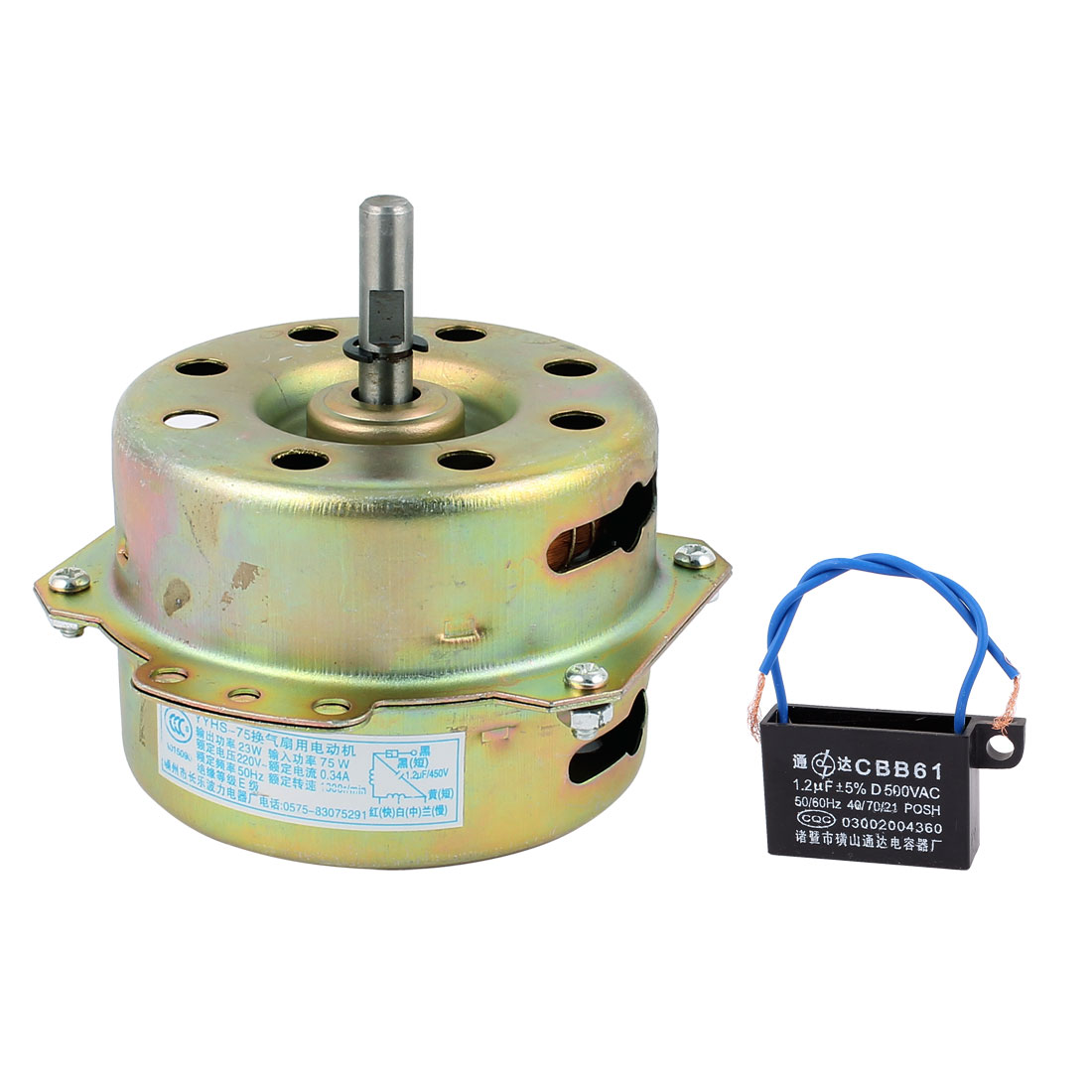 AC 220V 0.34A 1000RPM 8mmx30mm Shaft Dual Bearing Ball Electric Ventilator Fan Motor