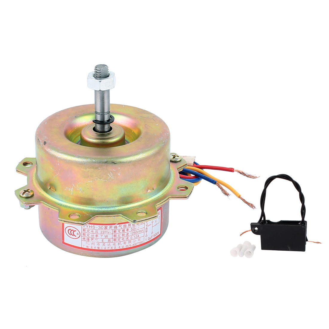 AC 220V 0.12A 7W 1250RPM 8mmx36mm Shaft Dual Bearing Ball Electric Ventilator Fan Motor