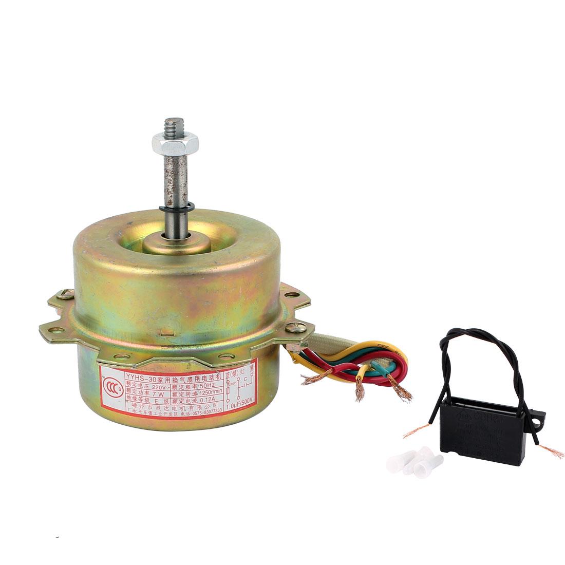 AC 220V 0.12A 7W 1250RPM 8mmx41mm Shaft Dual Bearing Ball Electric Ventilator Fan Motor