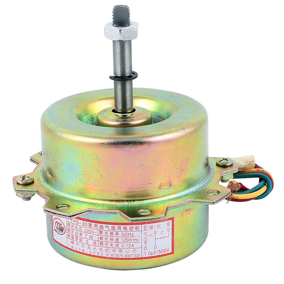 AC 220V 0.12A 7W 1250RPM 8mmx45mm Dual Bearing Ball Electric Ventilator Fan Motor