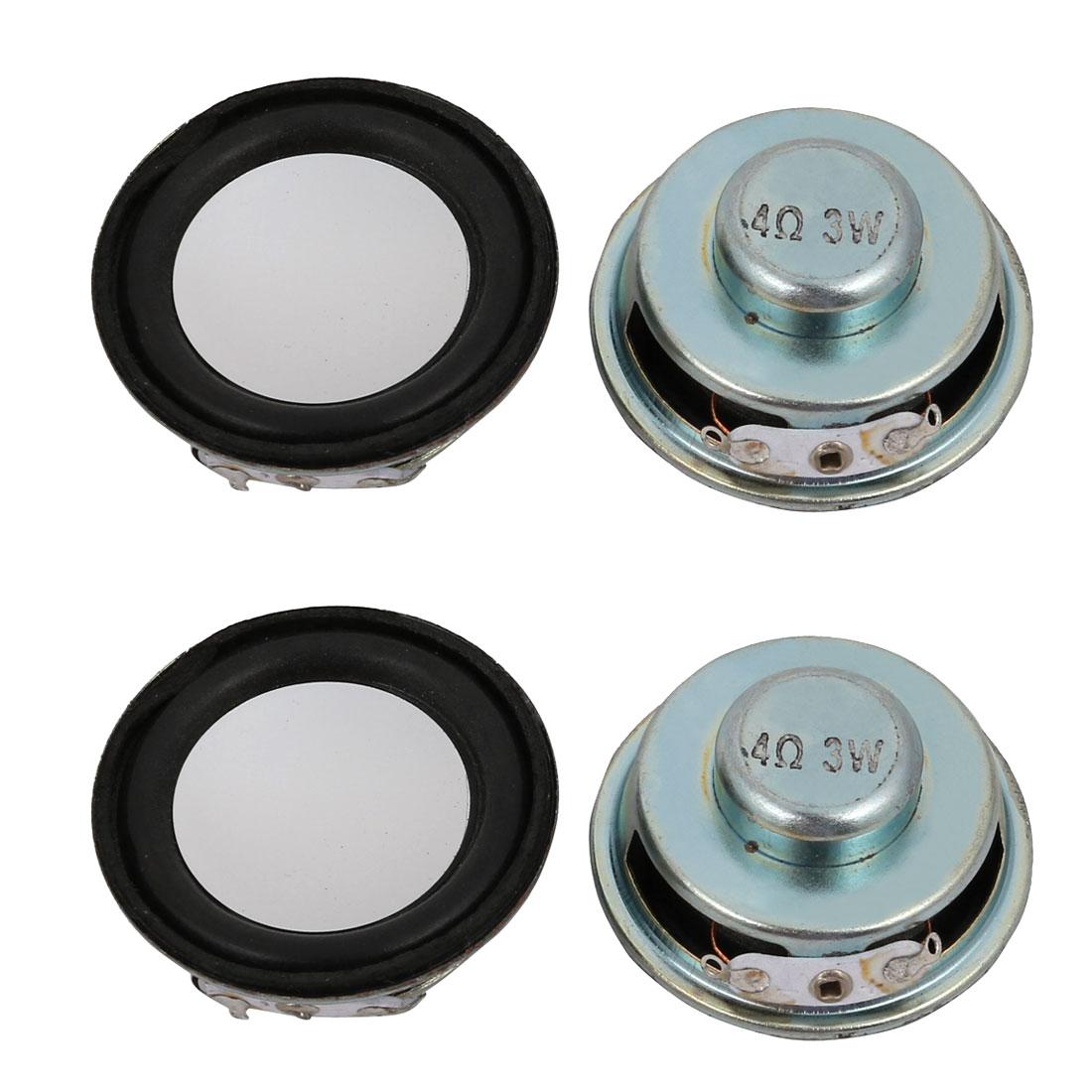 4Pcs 40mm Dia 4 Ohm 3W Metal Shell Internal Mini Speakers Magnetic Loudspeaker