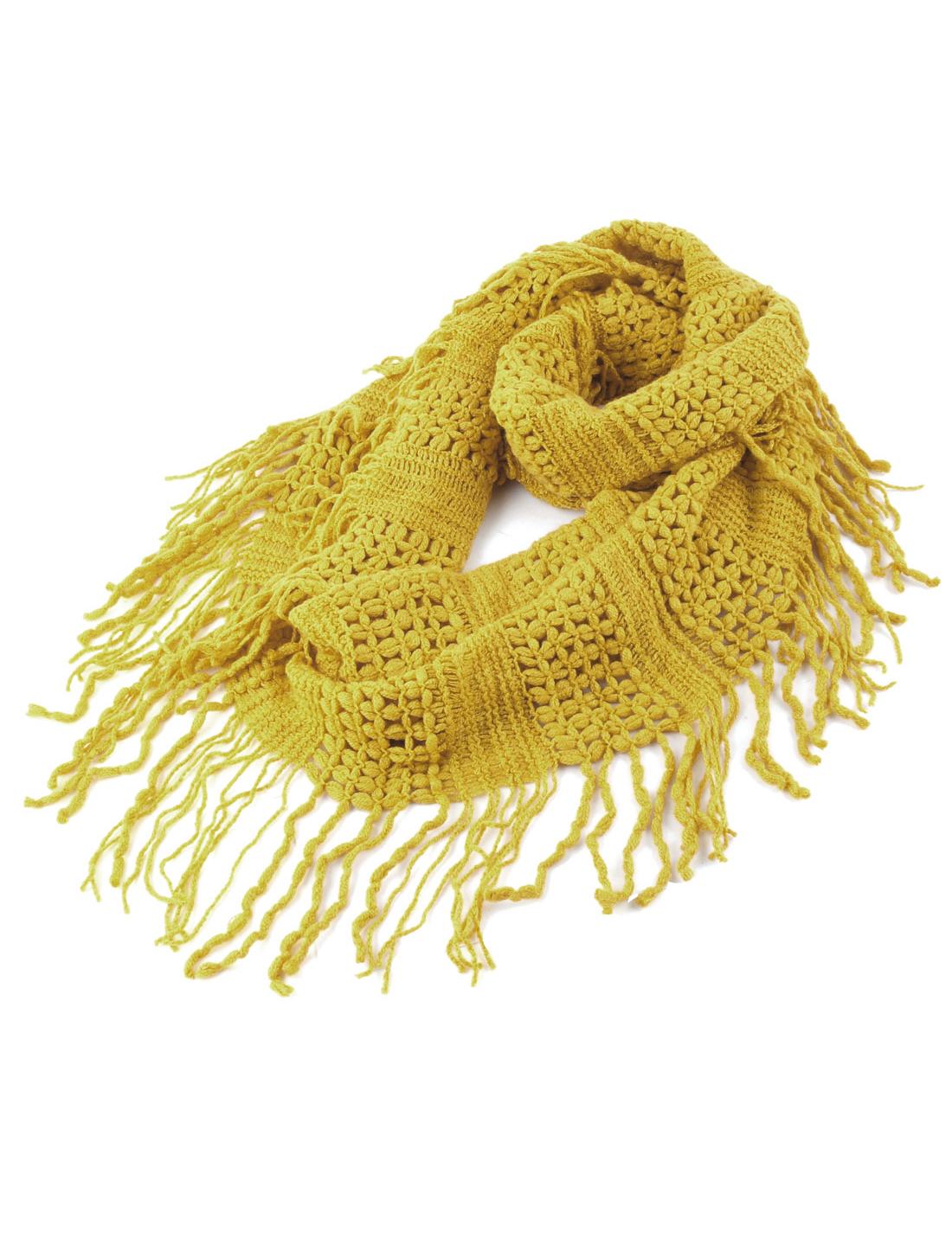 Women Winter Wear Tassels Fringe Decor Knitted Loop Scarf Neckerchief Yellow