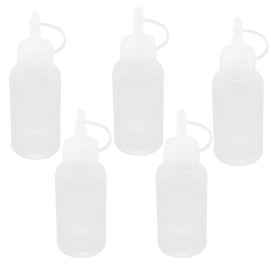 100ml Straight Beak Squeeze Kitchen Oil Industrial Dispensing Bottle 5 Pcs