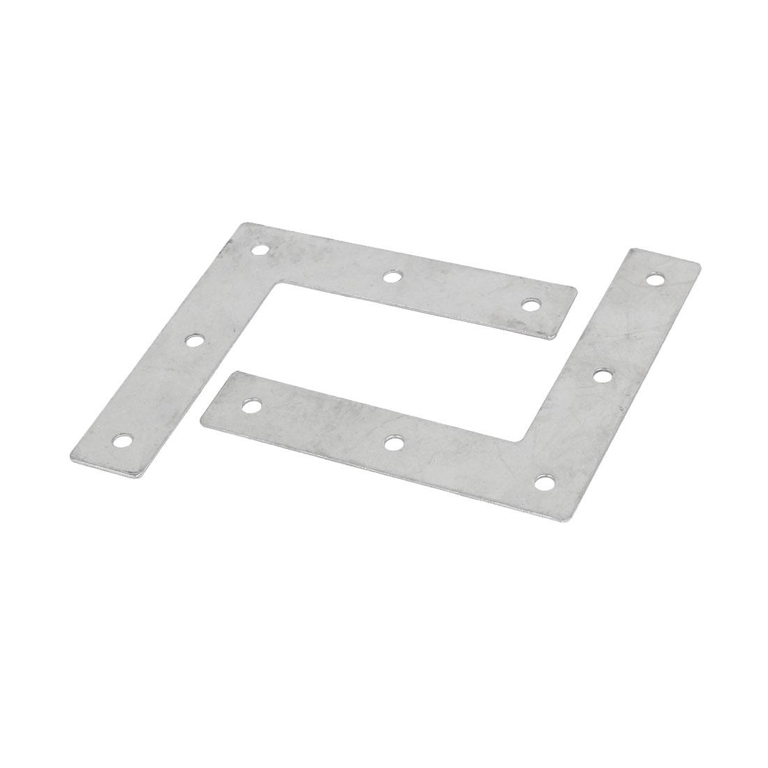 90mmx90mmx1mm Iron L Shaped 5 Holes Flat Fixing Plate Corner Brace Brackets 2pcs
