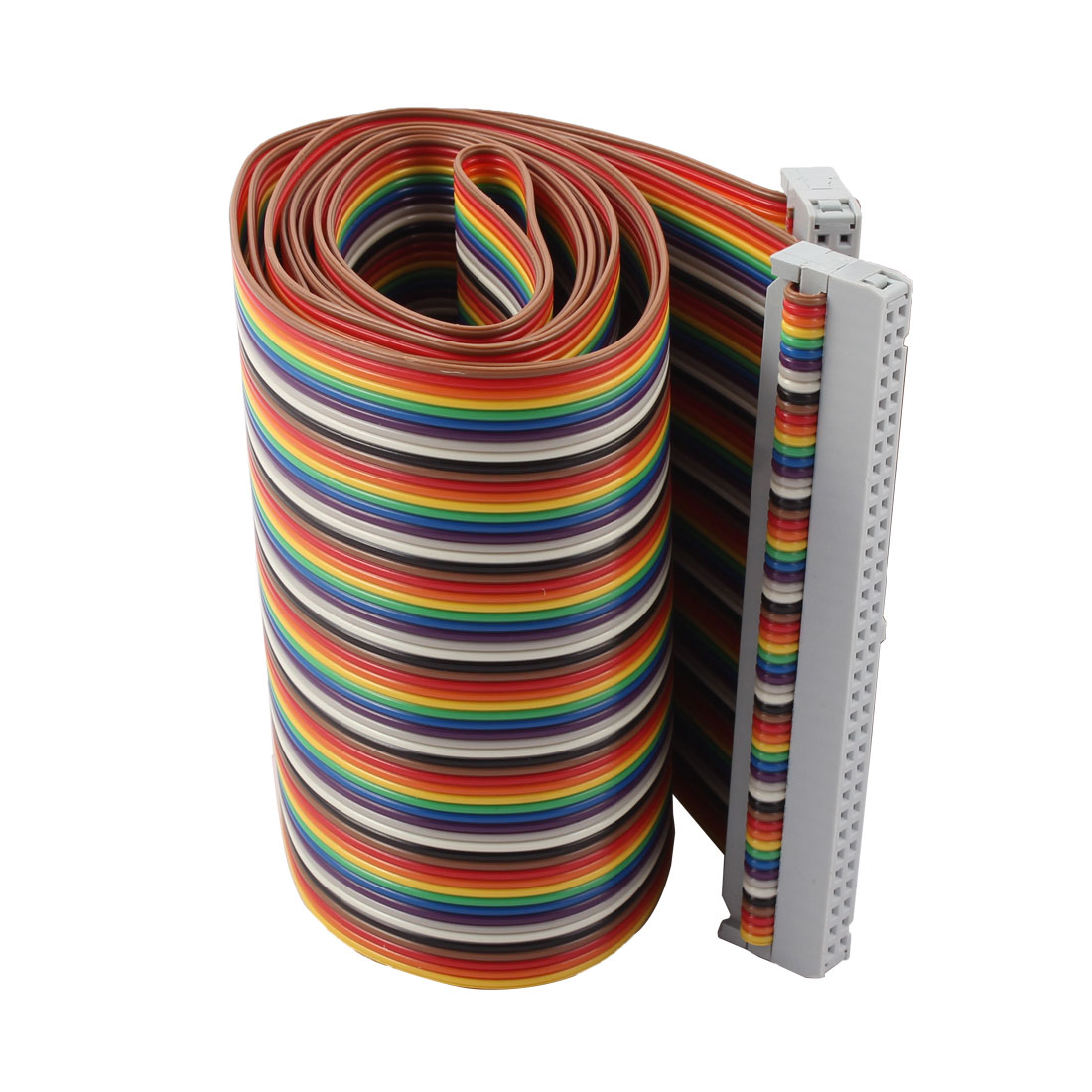 2.54mm Pitch 4.2Ft 64 Pin F/F IDC Flat Ribbon Cable Cord Connector Multicolor