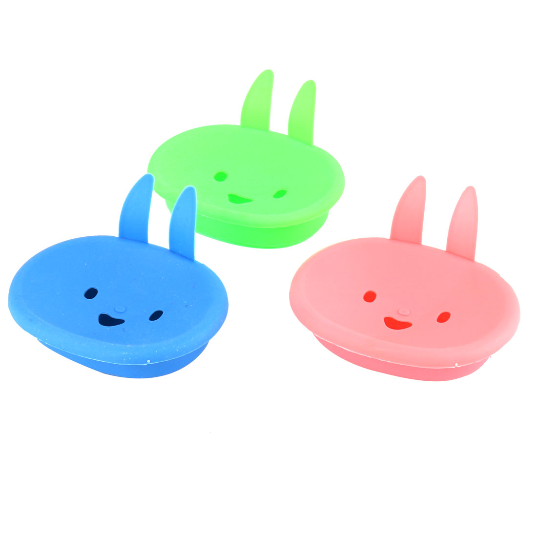 Household Plastic Rabbit Shaped Soap Container Storage Holder Assorted Color 3 Pcs