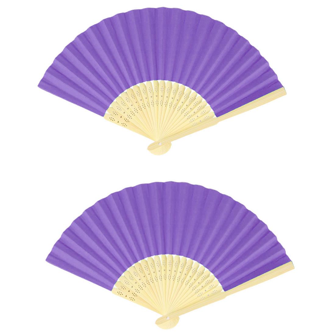 Wooden Frame Wedding Party Dancing Folding Hand Fan Purple 2 Pcs