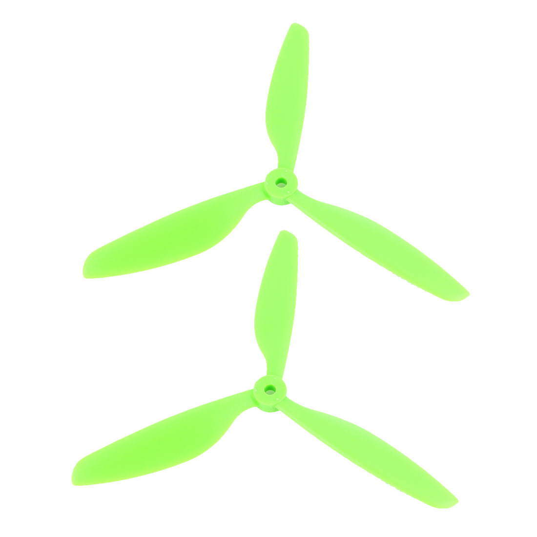 2Pcs Green Plastic RC Airplane Prop Propeller Paddle 9x4.5 + Shaft Adapter Rings