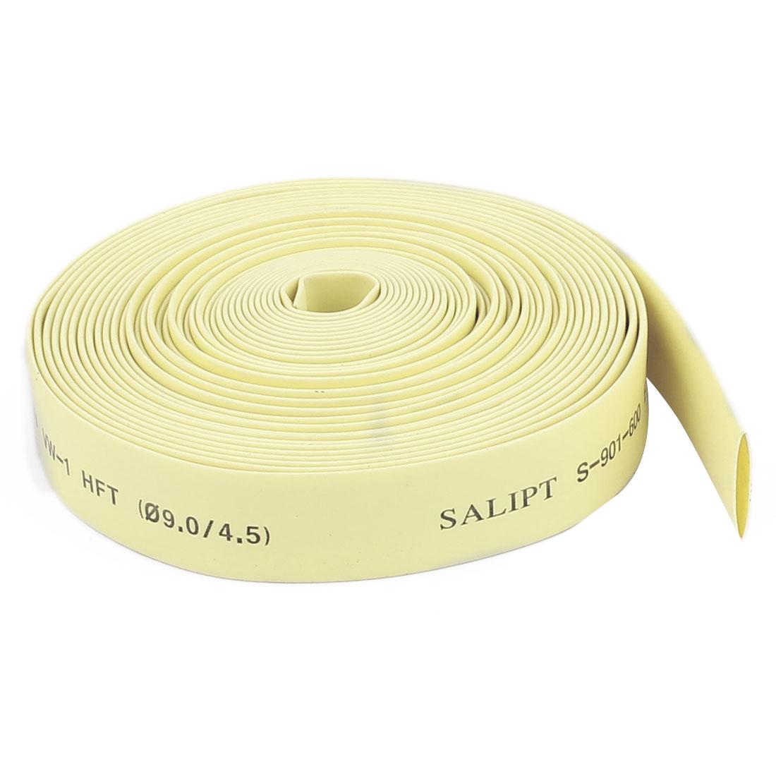 Yellow 9mm Dia 2:1 Polyolefin Heat Shrink Tubing Shrinkable Tube 5M 16.4Ft